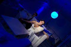 Bride sitting in a stylish lounge Stock Photos