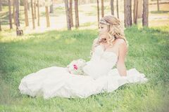 Bride sitting in sunny field Royalty Free Stock Photos