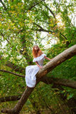 Bride sitting on a tree branch Royalty Free Stock Photos
