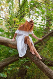 Bride sitting on a tree branch Royalty Free Stock Image