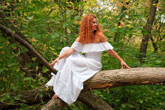 Bride sitting on a tree branch in autumn forest Stock Photos