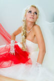 Bride sittting on floor Royalty Free Stock Images