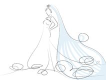 Bride. Sketch of beautiful young bride in white dress Royalty Free Stock Photography