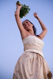 Bride and the sky stock photography