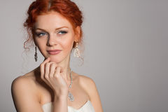 Bride slyly looking away Royalty Free Stock Photos