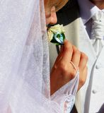 Bride smelling  boutonniere Royalty Free Stock Photography