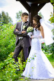 Bride and groom outdoors portrait Stock Photo