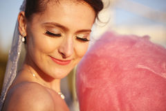 Bride smiling with her eyes closed Royalty Free Stock Photo