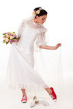 Bride in sneakers Royalty Free Stock Images