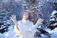 Bride and snow Royalty Free Stock Images
