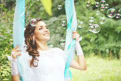 Bride with soap bubbles, tinted Stock Photos