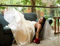 Bride on the sofa stock images