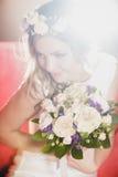 Bride soft light red. Red sofa bride soft light Royalty Free Stock Photos