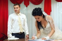 Bride on solemn registration Royalty Free Stock Images