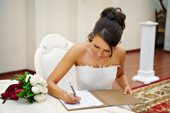Bride on solemn registration of marriage Stock Images
