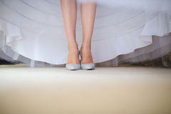 Bride in Sparkling Shoes Stock Photo