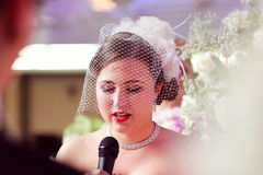 Bride speaking or singing Royalty Free Stock Photography