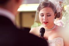 Bride speaking or singing Royalty Free Stock Images