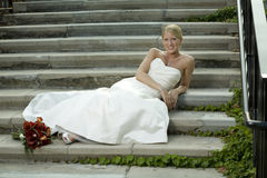 Bride on Stairway Stock Images