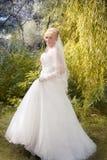 Bride  stand on a green grass Stock Photos