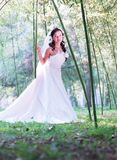 Bride standing in bamboo forest Royalty Free Stock Photography