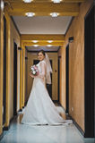 The bride is standing in the hotel hallway 3783. royalty free stock photography