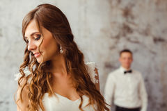 Bride stands thoughtful Royalty Free Stock Photos