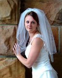 Bride in Stone Building Royalty Free Stock Photos