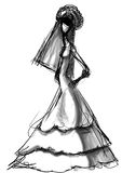 Bride stylish sketch Royalty Free Stock Photography