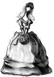 Bride stylish sketch with bouquet Royalty Free Stock Image