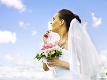 Bride summer outdoor. Stock Images