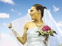 Bride summer outdoor. Royalty Free Stock Photo