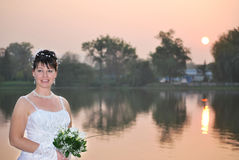 Bride on sunset Royalty Free Stock Images