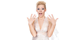 Bride surprised. Bride opened her mouth in surprise and waving his hands on his eyes wide royalty free stock images