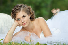 Bride on a swing. Beautiful bride on a swing Stock Photography