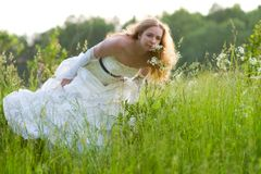 Bride in the tall grass Royalty Free Stock Image
