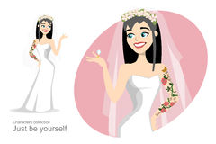 Bride with tattoo looking at wedding ring Royalty Free Stock Photo