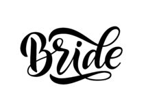 Bride team word calligraphy fun design. Lettering text vector illustration for bachelorette party. Bride team word calligraphy fun design to print on tee, shirt vector illustration