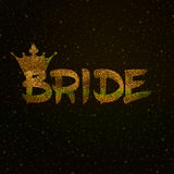 Bride text in gold glitter Royalty Free Stock Photos