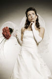Bride thinking about something Royalty Free Stock Images