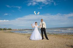 Bride threw shoes Stock Photography