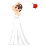 Bride Throwing Bouquet Stock Photo