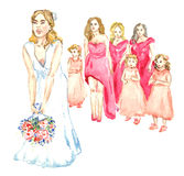 Bride throwing a bouquet of flowers to girls. Hand painted watercolor illustration, bride throwing a bouquet of flowers to girls Royalty Free Stock Images