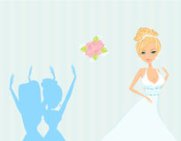 Bride throwing wedding bouquet to bridesmaids Royalty Free Stock Photo