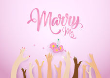 The bride throws the flowers for guests to catch on pink background royalty free illustration