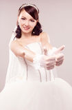 Bride with thumbs up royalty free stock photos