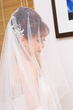 Bride to be hidden in veil Royalty Free Stock Photography