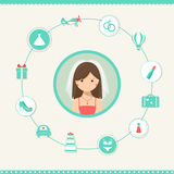 Bride-to-be Planning a Wedding. Infographics Design Royalty Free Stock Photos