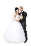 Bride to the bridegroom. On a white background royalty free stock image
