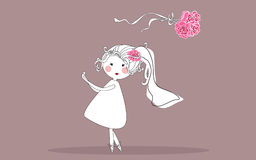 Bride tossing bouquet Stock Image